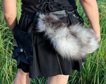 Real eco-friendly tundra fox tail belt pouch set with deer antler buttons for totemic dance, shamanic ritual, festival wear, more