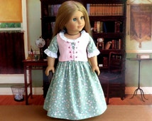 Colonial Doll Dress with Lace up Corset, American made, Girl Doll Clothes, fits Elizabeth or Felicity