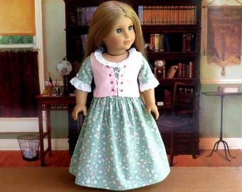 18 inch Felicity Doll Green Floral Colonial Dress and Pink Corset