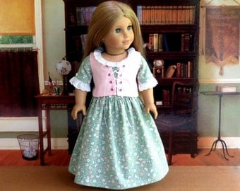 18 inch Doll Clothes Colonial Dress with Corset, Felicity Doll Dress