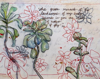 Sweet Succulents  ~ original artwork inspired by Friday Kahlo's journals