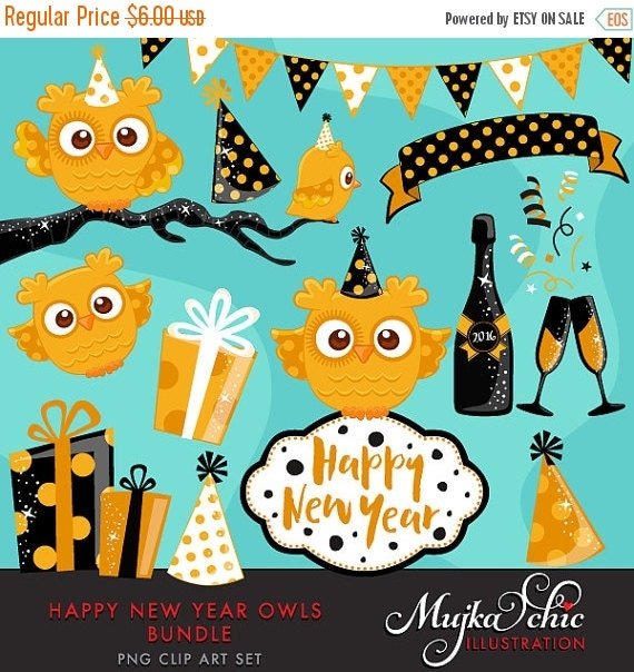 50% OFF SALE Happy New Year Owls Bundle Clipart with cute ...