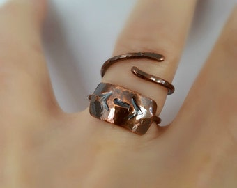 Copper Double Arrow Ring, Double Arrows, Tribal Ring, Boho Style Ring, Boho Jewelry, Hammered Copper Ring, Thin Band Ring, Stacking Ring
