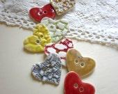 A Set Of 8 Handmade Heart Sew On  Buttons