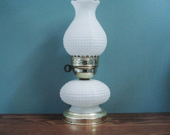Charming hobnail lamp with large shade