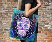"""Sugar Skull Tote Bag Over Sized 18"""" x 18""""  Butterfly Teal Frost"""