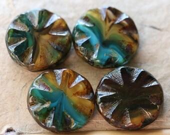10% off CLEO .. 4 Premium Picasso Czech Glass Round Window Beads 18mm (4856-4)