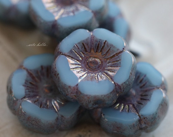 GILDED SKY PANSIES .. 6 Picasso Czech Glass Flower Beads 11-12mm (5321-6)