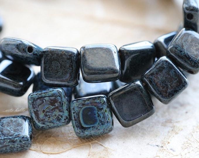 BLACK DENIM TILES .. 25 Picasso Glass Czech Tile Beads 6mm (3787-st)