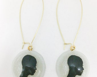 Natural Hair Cameo (LowCut) on Gold Kidney Earwire