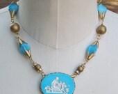 ON SALE Vintage Assemblage Necklace Cupid Psyche Mythology Statement  Robins Egg Blue Vintage Revival