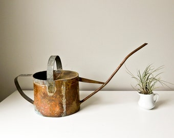 Handmade Rustic Copper Watering Can Primitive