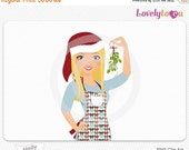 SALE Christmas woman with mistletoe, digital PNG clipart (Holly 475)