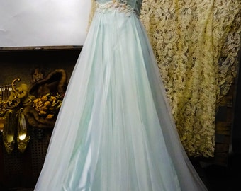 Vintage Downton Abbey Hollywood Glamour Gown Dress Princess Costume Stage Show XS