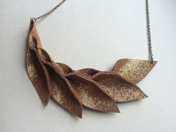 Petal Collection-  Brownish Gold Leather Petal Necklace
