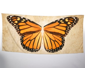 Monarch Butterfly Wing Shawl Wrap, Handmade Scarf, Orange Butterfly, Danaus Plexippus