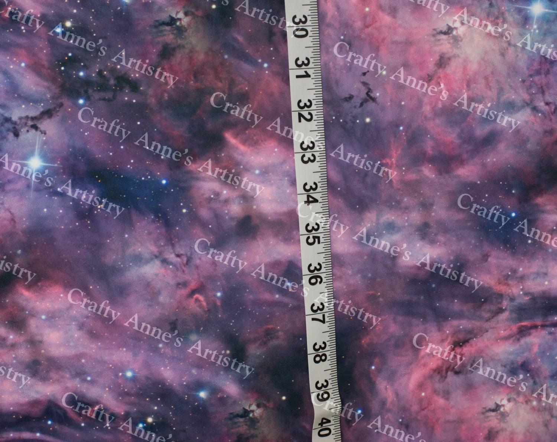 Purple galaxy knit fabric cotton spandex celestial stars for Galaxy fabric canada