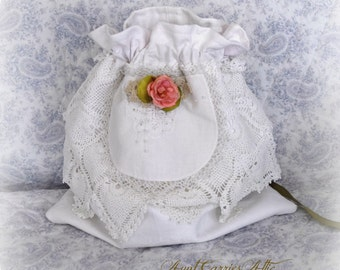 Reusable Gift Bag, Wedding Card Bag, Bridal Shower,  Wedding, Shabby Victorian Drawstring Bag, Bridal Lingerie Bag