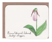 Prince Edward Island - lady's slipper - Flowers of the provinces and territories card with envelope