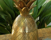 Vintage 9 inch Brass Pineapple Container - Mid Century Hollywood Regency Candle Holder Ice Bucket Southern Hospitality