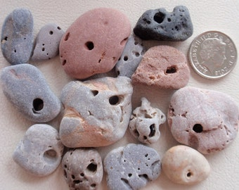 Genuine English sea glass 14 BEACH PEBBLES, natural holes as found all sizes