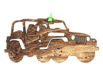 Wooden Jeep Ornament