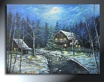 Winter Snowy Cabin In The Woods Full Moon Night Huge Original Artwork 30x40 Winter Blues