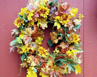 Fall Wreath....Pumpkin Wreath....Fall Door Wreath