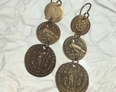 Brass Coin Dangle Earrings