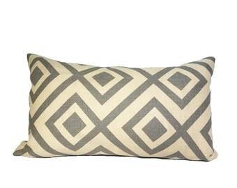 La Fiorentina Diamond Gray & Beige Accent Lumbar Pillow 12x20