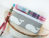 Preppy Patches, Whales and Linen Wristlet Zipper Clutch Purse|Cell Phone Wallet|Cell Phone Sleeve for iphones, samsung, blackberry, Nexus
