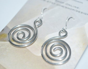 Made in Maine Hammered Wire Swirl Earrings-Birthday gift for her-Swirl Silver Jewelry-Light weight wire jewelry-everyday earrings