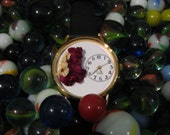 Womens Watch, Leather Wrist Watch with Deep Red Cockscomb / Celosia and Bridal Wreath