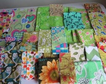 Springtime Green Cotton Fabric Scrap Bundle Shades of Green