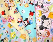 Disney Tsum Tsum fabric scrap 50  cm by 52 cm or 19.6 by 20 inches Fat Quarter each piece