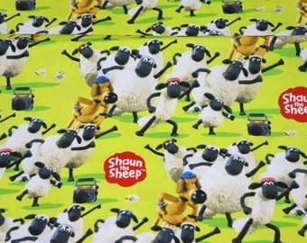 Shaun the sheep fabric half meter 50 cm by 106 cm or 19.6 by 42 inches