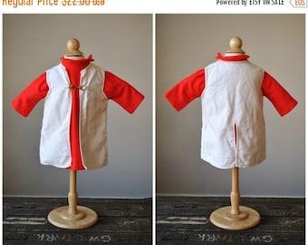 ON SALE 1960s Red Crest Knit Dress & Jacket~Size 12 Months