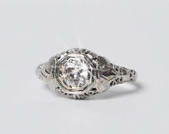 Diamond Ring Vintage Estate Ring 18K White Gold Engagement Ring Solitaire Diamond Ring .50 CTW Filigree