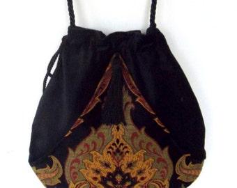 Boho Bag Black Velvet  Pocket Boho Bag Tapestry  Drawstring Bag   Gold and Black Bohemian Bag  Crossbody Purse