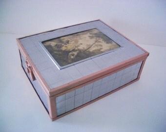 Vintage Art Deco Jewelry/Trinket Box with Woven Chrome