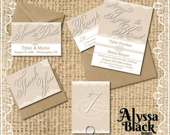 Burlap & Lace - Wedding Invitation Set - Customizable Instant Download