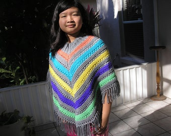 Knitted Poncho, Junior Girl - Grey with Vivid Colors