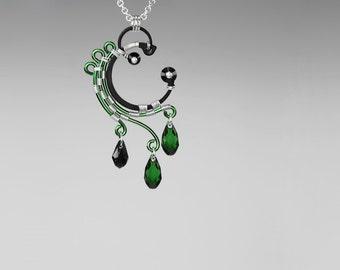 Green Swarovski Crystal Pendant, Industrial Pendant, Swarovski Necklace, Statement Jewelry, Bridal Jewelry by Youniquely Chic, Enceladus v5