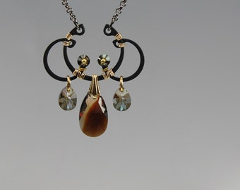 Triton v6: Bold industrial wire wrapped Pendant with bronze shade Swarovski crystal accents