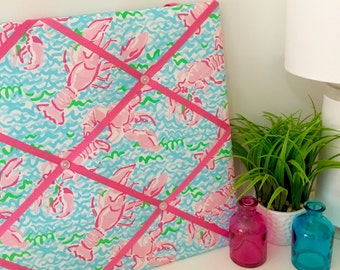 New memo board made with Lilly Pulitzer Lobstah Roll fabric and pink ribbons