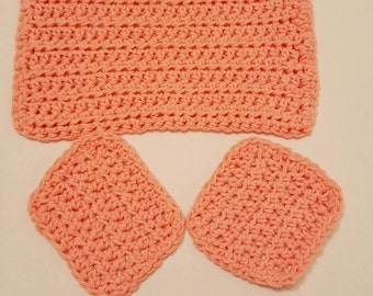 Handmade Crocheted Peach Washcloth with Scrubbies