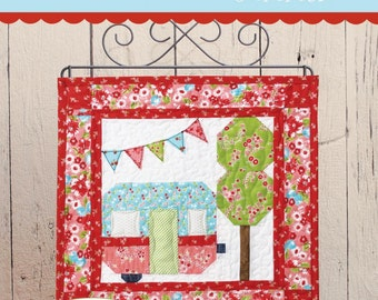 PATTERN SUMMER Glamping Travel Trailer Camping A Season of Minis Mini Quilt