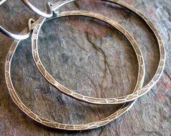 Sterling Silver Hoops on Earwires - Sterling Silver Circle Hoop Dangle Earrings