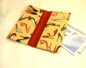 Checkbook Cover, Receipt Holder, Coupon Wallet, Ready to Ship, High Heels Fabric