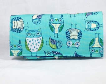 Coupon Holder, Coupon Organizer, Coupon Purse, Ready to Ship, Budget Wallet, Receipt Holder, Retro Owls in Teal